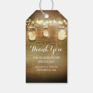 Rustic Mason Jars Lights Wedding Thank You