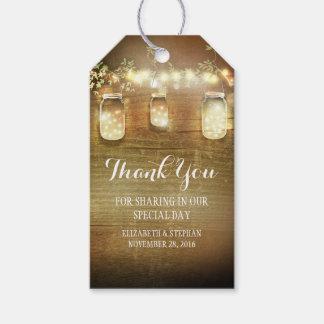 Rustic Mason Jars Lights Wedding Thank You Gift Tags