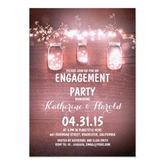 rustic mason jars & string lights engagement party 13 cm x 18 cm invitation card
