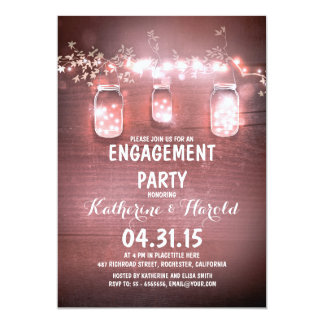 rustic mason jars & string lights engagement party card