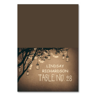 Rustic Mason Jars String Lights Place Cards Table Cards