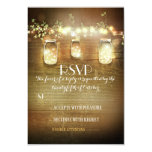 rustic mason jars string lights wedding RSVP cards Personalized Announcements