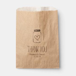 Rustic Masonjar Heart Wedding Thank You Favour Bags