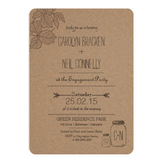 Rustic Masonjar | Leaves | Heart Engagement Party 13 Cm X 18 Cm Invitation Card
