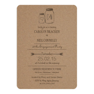 Rustic Masonjar Monogram Heart Engagement Party Card