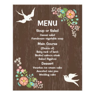 Rustic Menu Floral Brown Wood Wedding Doves 11.5 Cm X 14 Cm Flyer