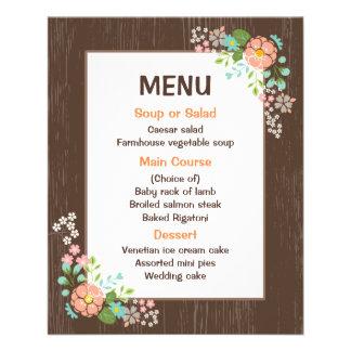 Rustic Menu Floral Brown Wood Wedding Party