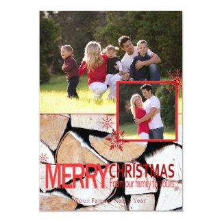 Rustic Merry Christmas 13 Cm X 18 Cm Invitation Card