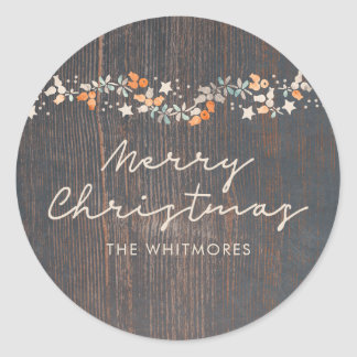 Rustic Merry Christmas Classic Round Sticker