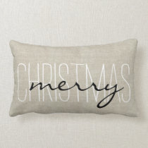 Rustic Merry Christmas   Holiday Pillow