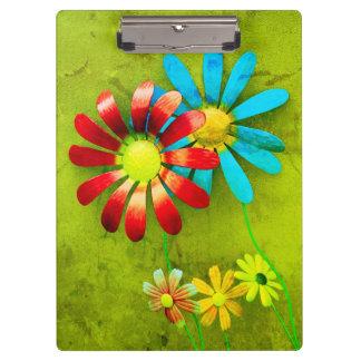 Rustic Metal Garden Flowers Clipboard
