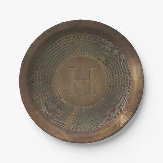 Rustic metal H Monogram paper plates