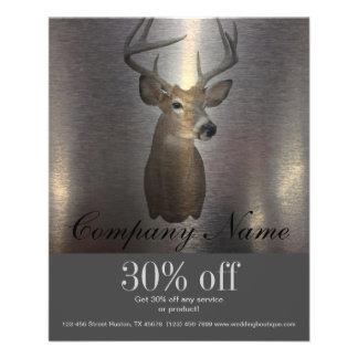 rustic metal texture western country deer 11.5 cm x 14 cm flyer