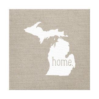 Rustic Michigan Home State Wrapped Canvas Art
