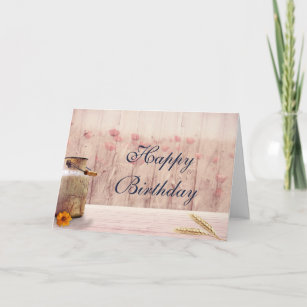 Rustic Milk Can With Wheat And Flowers Birthday Card