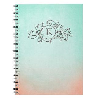 Rustic Mint and Peach Bohemian  Flourish Notebook