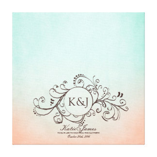 Rustic Mint and Peach Bohemian Guest Book Canvas Gallery Wrap Canvas