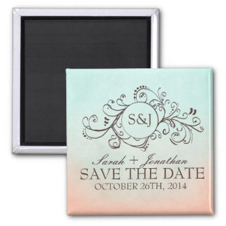 Rustic Mint and Peach Bohemian Save The Date Square Magnet