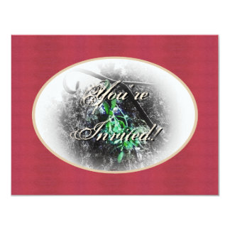 Rustic Mistletoe Yule Winter Solstice Christmas 11 Cm X 14 Cm Invitation Card