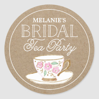 Rustic Modern Bridal Tea Party | Bridal Shower Round Sticker