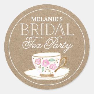 Rustic Modern Bridal Tea Party | Bridal Shower Round Sticker