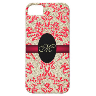 Rustic Monogram Girly Vintage Damask and Burlap iPhone 5 Cover
