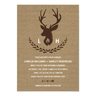 Rustic Monogram | Kraft Paper Stag Wedding Card