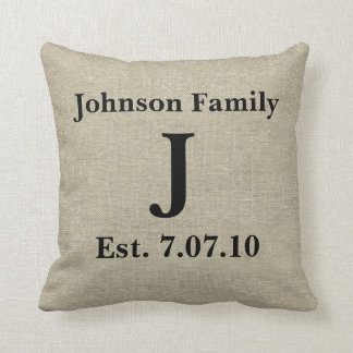 Rustic Monogram Linen Country Personalized Cushion