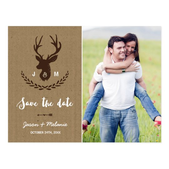 Rustic Monogram | Stag Photo Save the Date Postcard