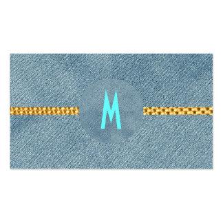 Rustic Monogram Wedding Girly Denim Modern Trendy Pack Of Standard Business Cards