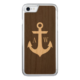 Rustic Monogrammed Anchor Woodback Carved iPhone 8/7 Case