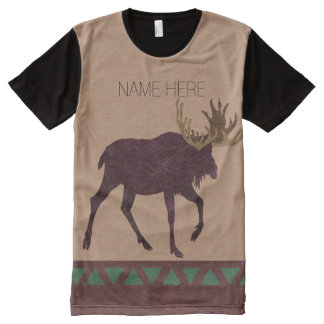 Rustic Moose Faux Leather-Look Fashion All-Over Print T-Shirt