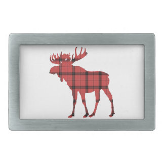 Rustic Moose Red and Black Plaid Tartan Pattern Belt Buckle