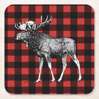 Rustic Moose Red & Black Buffalo Check Plaid Square Paper Coaster