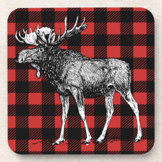 Rustic Moose Red & Black Buffalo Plaid Man Cave Coaster