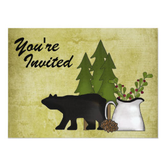 Rustic Mountain Bear Family Reunion Invitation