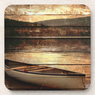 Rustic Mountain Canoe Trip Design Drink Coasters
