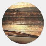Rustic Mountain Canoe Trip Design Round Stickers