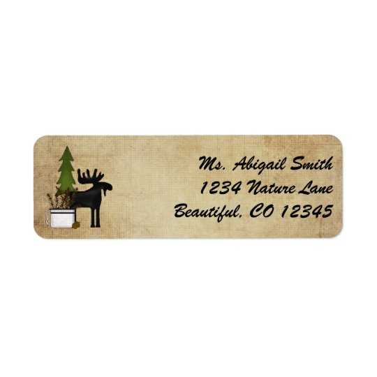 Rustic Mountain Country Silhouette Moose Address