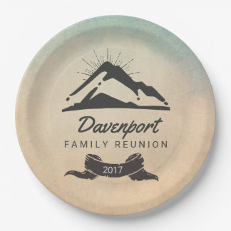 Rustic Mountain Illustration Family Reunion 9 Inch Paper Plate