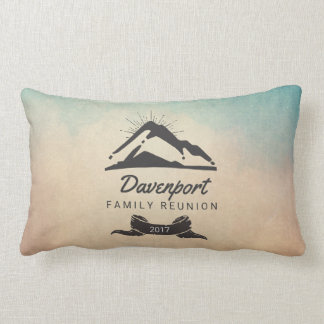 Rustic Mountain Illustration Family Reunion Lumbar Pillow