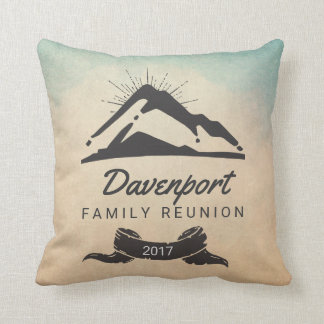Rustic Mountain Illustration Family Reunion Throw Pillow