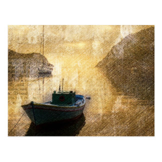 Rustic mountain lake canoe boat sailboat postcard