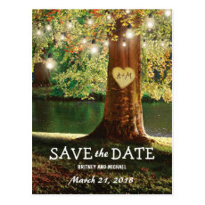 Rustic Mountain Lake Twinkle Lights Save the Date