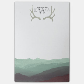Rustic Mountain Watercolor & Antler   Monogram   Post-it® Notes
