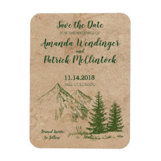 Rustic Mountain Wedding Save the Date Magnets