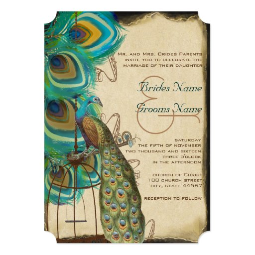 Rustic Musical Peacock Birdcage Feather Wedding 13 Cm X 18 Cm Invitation Card