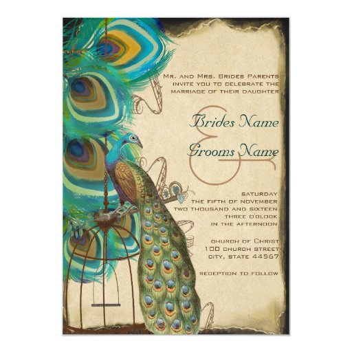 Rustic Musical Peacock Birdcage Feather Wedding 13 Cm X 18 Cm Invitation Card