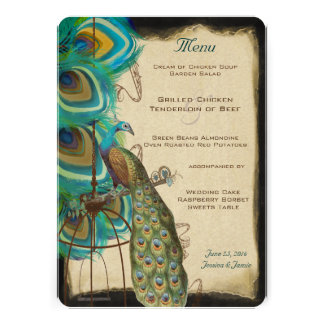 Rustic Musical Peacock Birdcage Romantic Feather Personalized Invitation