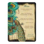 Rustic Musical Peacock Birdcage Romantic Feather Personalized Announcements